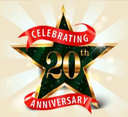 20 year anniversary celebration golden star ribbon