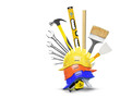 canvas print picture - Construction tools and stacked on each construction helmets