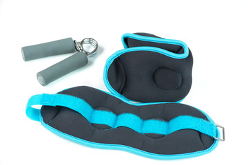 Ankle weights and hand trainer, isolated