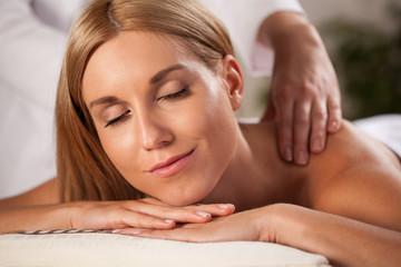 Neck massage in spa