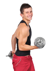 happy man lifting dumbbells