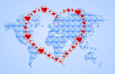 mapa puzzle i serce z serc