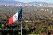 Giant Mexican national flag flay above Mexico City