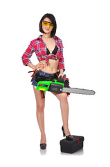 sexy girl holding chainsaw