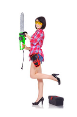 young girl with chainsaw