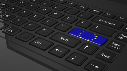 Black keyboard with European flag on enter