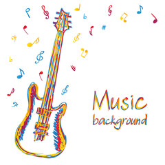 Guitar music background with notes
