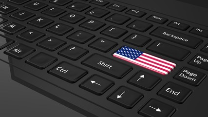 Black keyboard with USA flag on enter