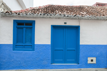 blue colored house