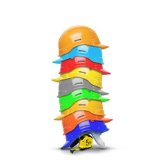 Measuring tape and stacked on each construction helmets