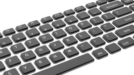 Black keyboard keys closeup isolated on white