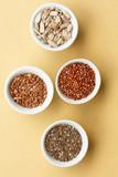 Chia seeds, flax seeds, red quinoa,sunflower seeds,