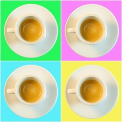 Colorful coffee cups background
