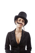 Business woman with mustache.