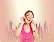 Young girl listening music over music background