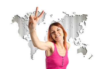 Pretty young woman winner over world map background