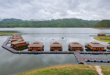 Floating hotel houses on Srinakarin dam in Kanchanaburi, Thailan
