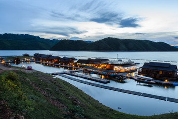 Floating hotel houses on Srinakarin dam in Kanchanaburi, Thailan