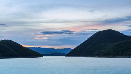 Beautiful nature view of Srinakarin dam in Kanchanaburi, Thailan