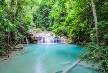 Beautiful deep forest waterfall of Erawan waterfall in Kanchabur
