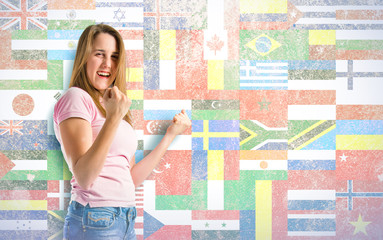Lucky girl over flags background