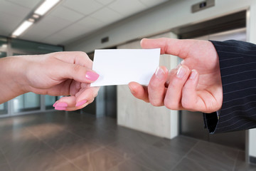 Giving a business card