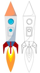 Flying Rocket with Illyuminotor and Flames from the Engine.