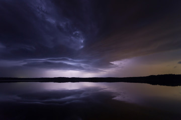 Supercell thunderstorm at night with lightning