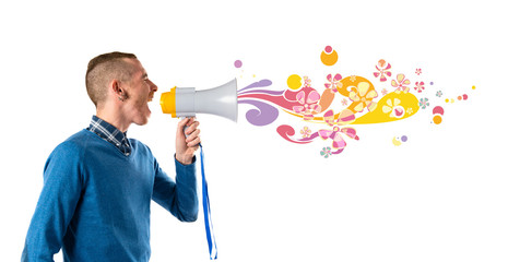 Redhead man shouting by megaphone over white background