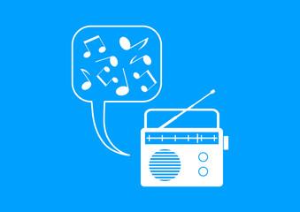White radio icon on blue background