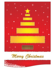 Golden christmas tree on red background