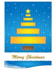 Golden christmas tree on blue background