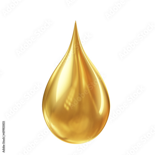 canvas print picture golden oil droplet isolated on white background
