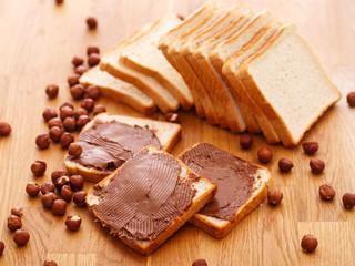 Delicious chocolate cream on a toast