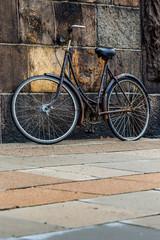 Classic vintage retro city bicycle in Copenhagen, Denmark