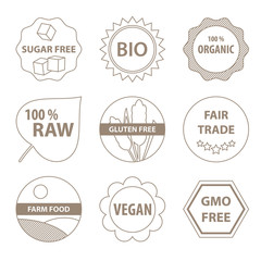 Bio and healthy food icons