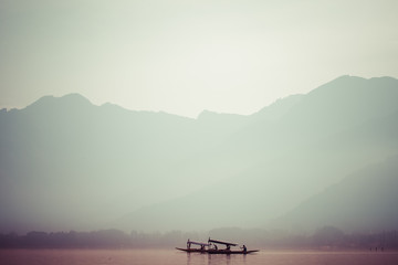 Peacefully Dal lake in Srinagar, Kashmir India