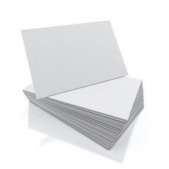 blank visit cards pile isolated on white