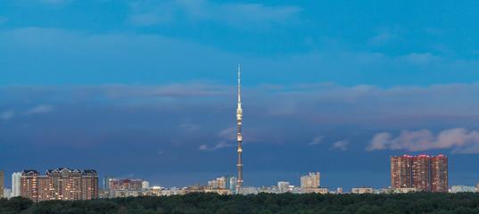 dark blue twilight sky over city
