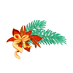 Christmas decoration branch with bow and poinsettia vector