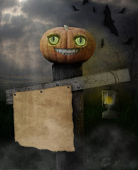 Kürbis Halloween Pfosten Zettel