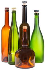 side view of few empty closed wine bottles