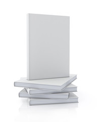 3d model of blank book standing on pile of books