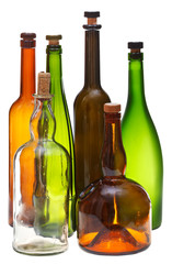 empty closed wine bottles isolated