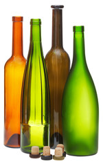 colored empty open wine bottles and cork