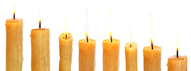 set of lighted candles close up