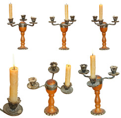 set of candleholder with candles isolated