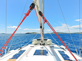 voyage on yacht in blue Adriatic sea