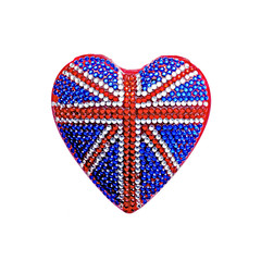 Heart Shaped Badge with UK Flag and Crystals Isolated on White