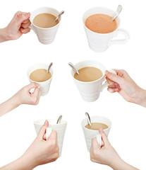 set of hand with white cup with milk coffee